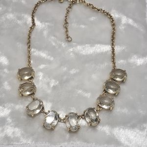 J. Crew Gold Tone Clear Crystal Statement Necklace